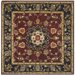 Safavieh Handmade Classic Kerman Burgundy/ Navy Wool Rug (6' x 6' Square)