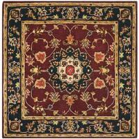 Safavieh Handmade Classic Kerman Burgundy/ Navy Wool Rug - 6' x 6' Square