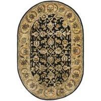 "Safavieh Handmade Classic Black/ Gold Wool Rug - 7'6"" x 9'6"" Oval"