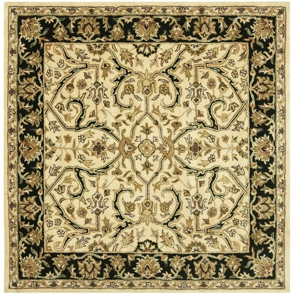 Safavieh Handmade Heritage Timeless Traditional Ivory/ Black Wool Rug - 6' x 6' Square