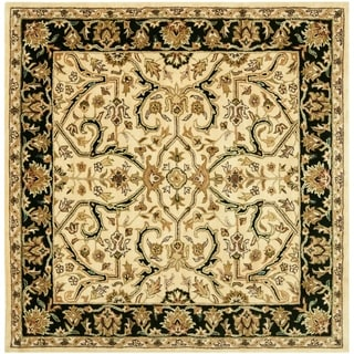 Safavieh Handmade Heritage Timeless Traditional Ivory/ Black Wool Rug (6' Square)