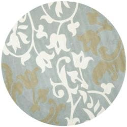 Safavieh Handmade Silhouettes Blue/Grey New Zealand Wool Rug (6' Round)