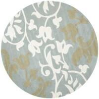 Safavieh Handmade Silhouettes Blue/Grey New Zealand Wool Rug - 6' x 6' Round