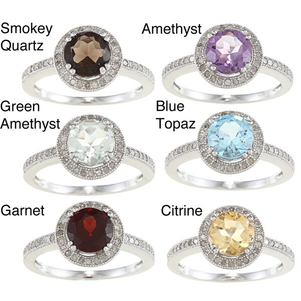 Viducci Sterling Silver Gemstone and 1/3ct TDW Diamond Ring (G-H, I1-I2)