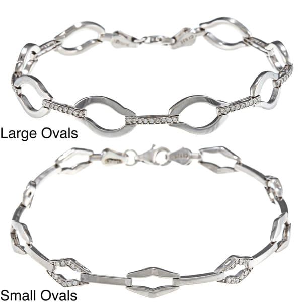 La Preciosa Sterling Silver Bars and Ovals CZ Bracelet