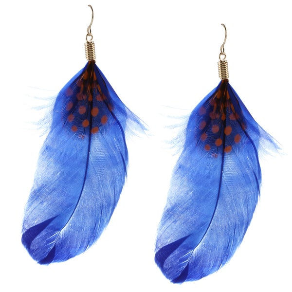 Purple Accent Feather Hook Earrings