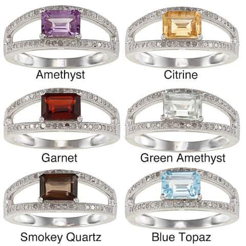 Viducci Sterling Silver Emerald-cut Gemstone and 1/3ct TDW Diamond Ring (G-H, I1-I2)