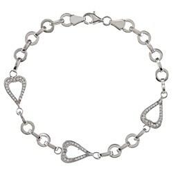 La Preciosa Sterling Silver Open Heart CZ Border Linked Bracelet