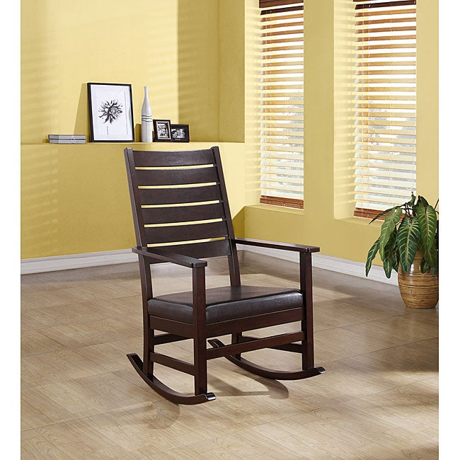 Cappuccino 43-inch Slat Back Rocking Chair