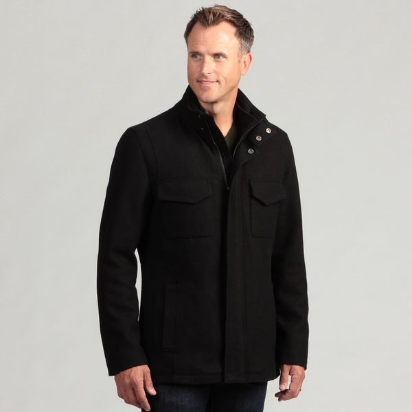 Izod Men's 100 Percent Wool Zip-Front Coat