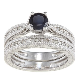 Viducci Sterling Silver Sapphire and 1/3ct TDW Diamond Ring Set (G-H, I1-I2)