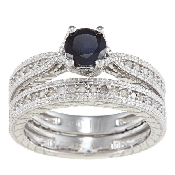 Viducci Sterling Silver Sapphire and 1/3ct TDW Diamond Ring Set (G-H, I1-I2)