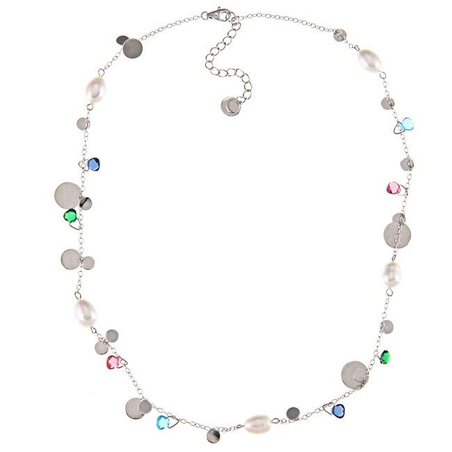 La Preciosa Sterling Silver FW Pearl and Multi-colored Gl...