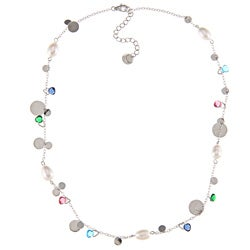 La Preciosa Sterling Silver FW Pearl and Multi-colored Glass Necklace (7 mm)