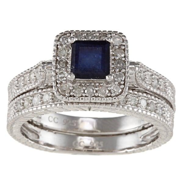 Viducci Silver Sapphire and 5/8ct TDW Diamond Bridal Ring Set (G-H, I1-I2)