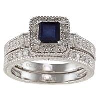 Viducci Silver Sapphire and 5/8ct TDW Diamond Bridal Ring Set