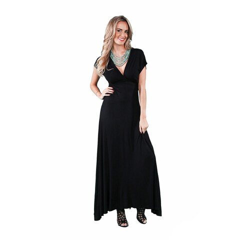 24/7 Comfort Apparel Women's Faux Wrap Maxi Dress