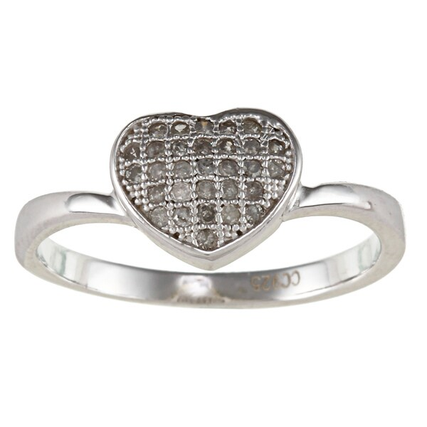 Sterling Silver 1/4ct TDW Pave Diamond Heart Ring (G-H, I2)