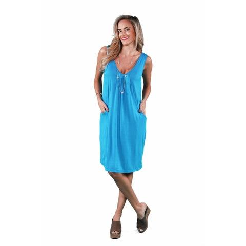 24/7 Comfort Apparel Women's Drape Front Tank Dress