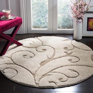 Safavieh Florida Shag Scrollwork Cream/ Beige Rug (5' Round)