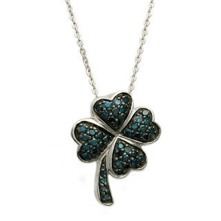 Sterling Silver 1/4ct TDW Blue Diamond Heart Clover Necklace (Blue)