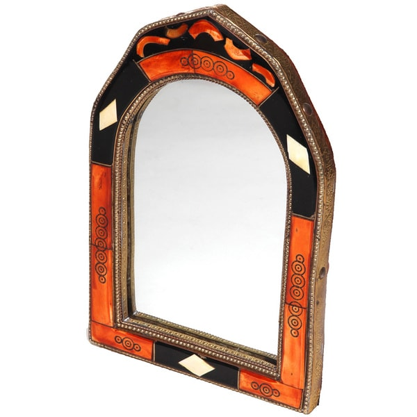 Hand-Carved Bone Moroccan Mirror  , Handmade in Morocco