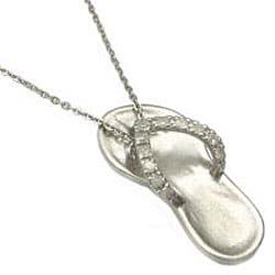 Beverly Hills Charm Sterling Silver 0.15ct TDW Diamond Flip Flop Sandal Necklace (H-I, I2-I3)