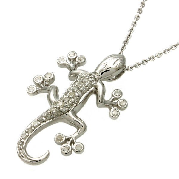 Sterling Silver 1/5ct TDW Diamond Gecko Necklace