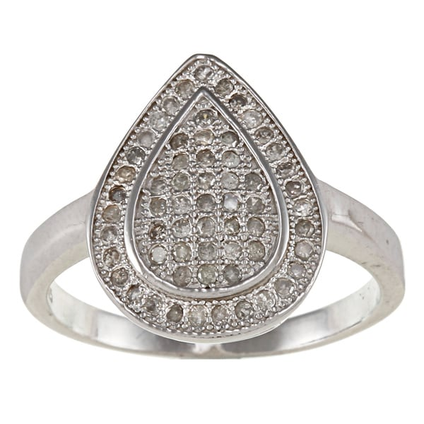 Sterling Silver 1/2ct TDW Diamond Pave Teardrop Ring (G-H, I2)