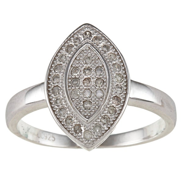 Sterling Silver 1/2ct TDW Diamond Pave Marquise Ring (G-H, I2)