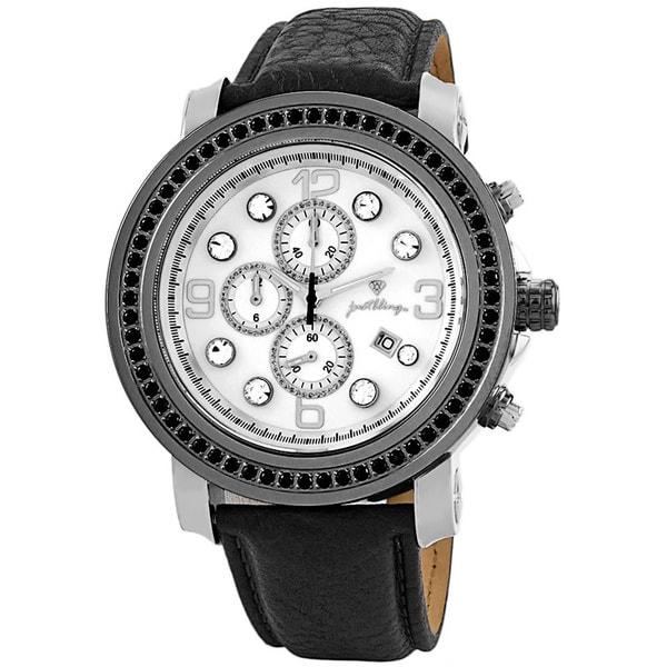 JBW Men's 'Tazo' Black Ion-Plated Diamond Watch