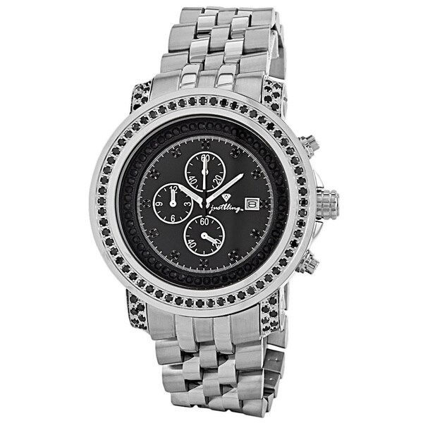 JBW Men's 'Melbourne' Chronograph Black Diamond Watch