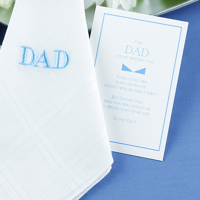 HBH Father-of-the-Bride White Hanky with Blue 'Dad' Embroidery