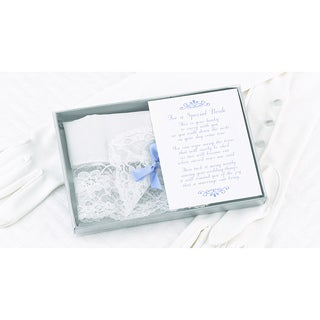 HBH Bride White Lace Wedding Handkerchief with Blue Bow