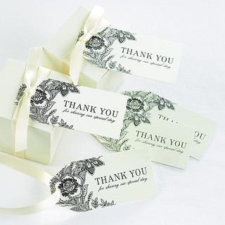 Vintage Floral Ivory Wedding Favor Cards