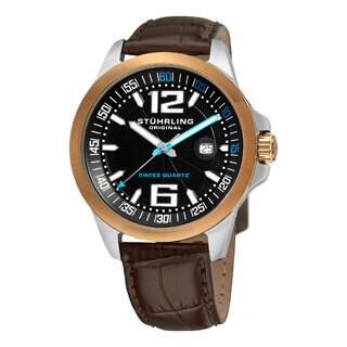 Stuhrling Original Men's Concorso Villa Leather Strap Watch
