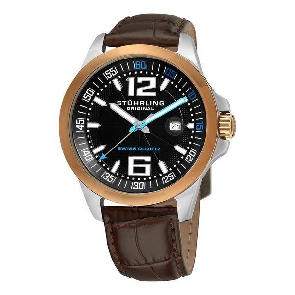 Stuhrling Original Men's Concorso Villa Leather Strap Watch