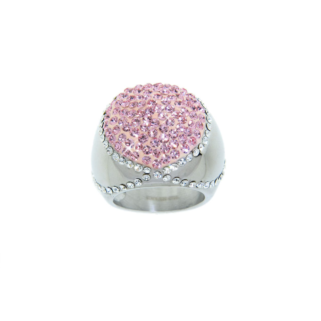 Eternally Haute Stainless Steel Rose and White Crystal Cocktail Ring