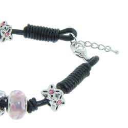 Eternally Haute Silverplated and Leather Pink Murano Style Glass Charms Bracelet