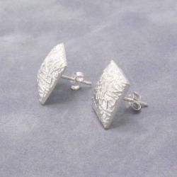 Handmade Textured Square .925 Silver Stud Earrings (Thailand) - Thumbnail 1