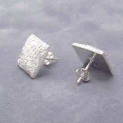 Handmade Textured Square .925 Silver Stud Earrings (Thailand) - Thumbnail 2