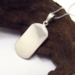 Handmade 'Be Yourself' 925 Sterling Silver Dog Tag Pendant Necklace (Thailand) - Thumbnail 1