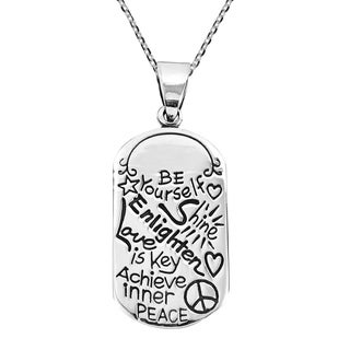 Handmade Be Yourself 925 Sterling Silver Dog Tag Pendant Necklace Thailand