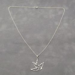 Cut Out Sparrow Bird .925 Silver Pendant Necklace (Thailand)