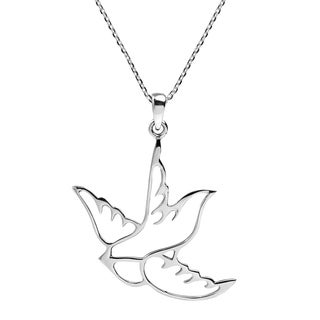 Handmade Cut Out Sparrow Bird .925 Silver Pendant Necklace (Thailand)