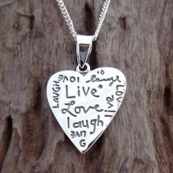 Handmade Inspirational 'Live Love Laugh' Heart .925 Silver Necklace (Thailand)