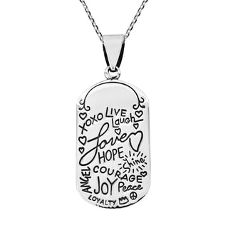 Handmade Inspirational Phrase 'Live Laugh Love' .925 Silver Necklace (Thailand)
