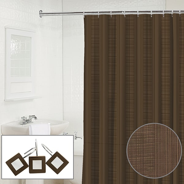 Waverly Linen 2-piece Espresso Shower Curtain and Hook Set