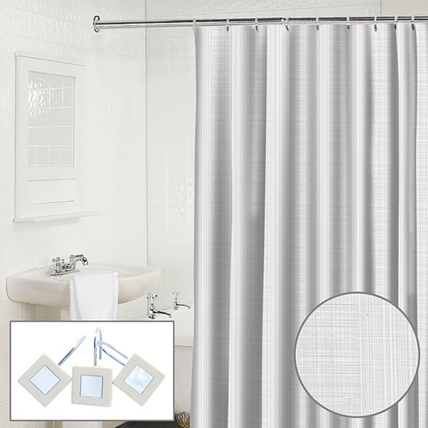 Waverly Linen 2 Piece Snow Shower Curtain And Hook Set