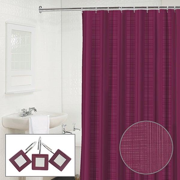 Linen 2 Piece Plum Shower Curtain And Hook Set
